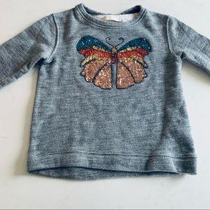 Zara girls butterfly sequins sweatshirt